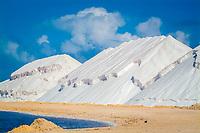 Mountains of salt harvested from the sea. Mountains, heap, salt, harvest, sea, ocean, Bonaire, Dutch, Netherland Antilles, Caribbean Sea, Atlantic