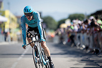 Jakob Fuglsang (DEN/Astana) rolling over the finish line<br /> <br /> Stage 13 (ITT): Pau to Pau (27km)<br /> 106th Tour de France 2019 (2.UWT)<br /> <br /> ©kramon