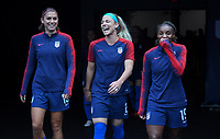 Cleveland, Ohio - Tuesday June 12, 2018: Alex Morgan, Julie Ertz, Crystal Dunn during an international friendly match between the women's national teams of the United States (USA) and China PR (CHN) at FirstEnergy Stadium.