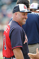 Manager Fredi Gonzalez (33) of the Atlanta Braves before a Spring Training game against the New York Yankees on Wednesday, March 18, 2015, at Champion Stadium at the ESPN Wide World of Sports Complex in Lake Buena Vista, Florida. The Yankees won, 12-5. (Tom Priddy/Four Seam Images)