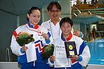 (L-R)<br /> Yuka Mabuchi,<br />  Suei Mabuchi,<br /> Minami Itahashi,<br /> SEPTEMBER 18, 2015 - Diving : <br /> All Japan Diving Championship 2015<br /> Women's 3m Springboard Award ceremony<br /> at Tatsumi International Swimming Center, Tokyo, Japan.<br /> (Photo by Shingo Ito/AFLO SPORT)