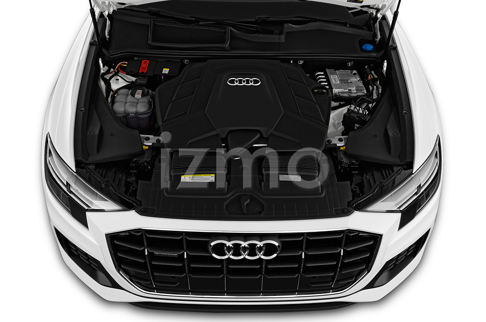 Car stock 2019 Audi q8 Premium Plus 5 Door SUV engine high angle detail view