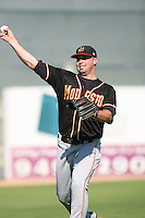 August 24 2008: Chris Malone of the Modesto Nuts before game against the Lancaster JetHawks at Clear Channel Stadium in Lancaster,CA.  Photo by Larry Goren/Four Seam Images