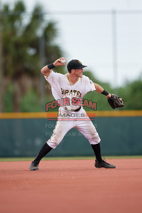 GCL Pirates shortstop Kyle Mottice (24) throws to first base during the second game of a doubleheader against the GCL Yankees East on July 31, 2018 at Pirate City Complex in Bradenton, Florida.  GCL Pirates defeated GCL Yankees East 12-4.  (Mike Janes/Four Seam Images)