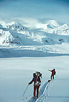 Alaska, Denali National Park, back country skiers traverse the Don Sheldon Amphitheater, Ruth Glacier, Alaska Range, Alaska, USA, North America, released, .