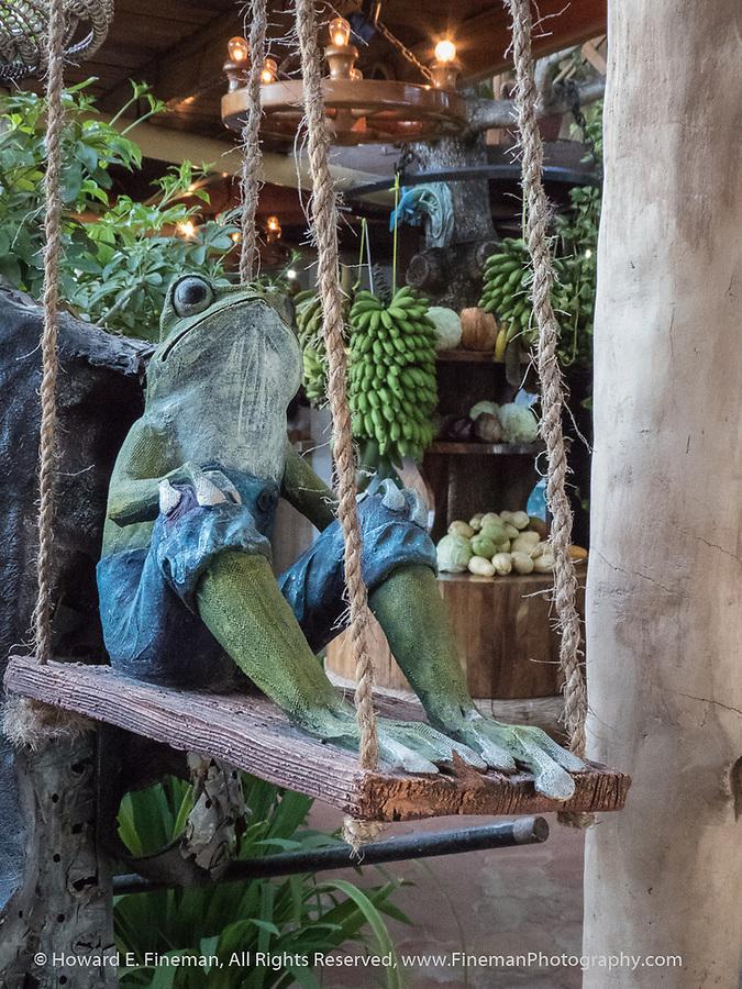 Humorous frog in waterfront restaurant, Cienfuegos