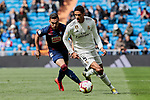 Real Madrid's Raphael Varane and SD Eibar's Gonzalo Escalante during La Liga match between Real Madrid and SD Eibar at Santiago Bernabeu Stadium in Madrid, Spain.April 06, 2019. (ALTERPHOTOS/A. Perez Meca)