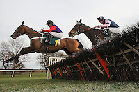 Race winner Open Hearted ridden by Jeremiah McGrath (L) in jumping action during the European Breeders Fund National Hunt Novices Hurdle at Fakenham Racecourse, Norfolk - 17/02/12 - MANDATORY CREDIT: Gavin Ellis/TGSPHOTO - Self billing applies where appropriate - 0845 094 6026 - contact@tgsphoto.co.uk - NO UNPAID USE