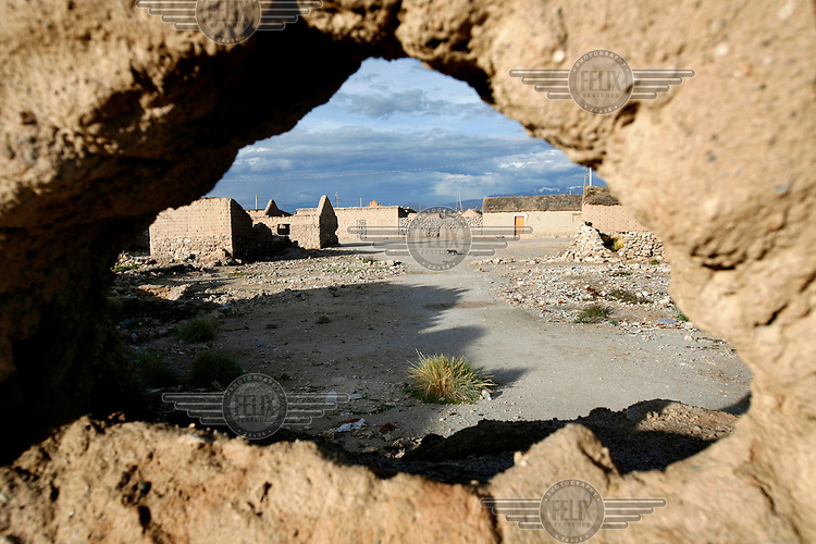 The village of Colchani, on Salar de Uyuni, the biggest  salt lake in the world. The poeple of the village make a living by mining the salt.