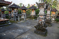 Bali, Indonesia.   Shrines to the Ancestors inside a Hindu Balinese Village Family Compound.