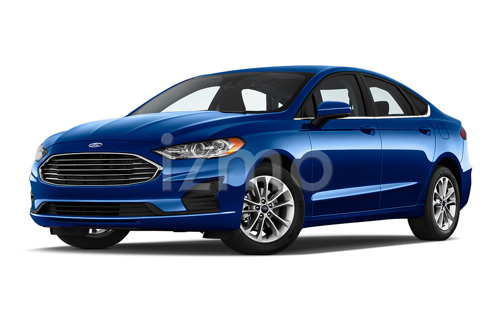 Stock pictures of low aggressive front three quarter view of 2020 Ford Fusion SE 4 Door Sedan Low Aggressive