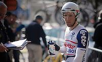 3 Days of De Panne.stage 3b: De Panne-De Panne TT..Jonas Van Genechten (BEL) in the startzone..
