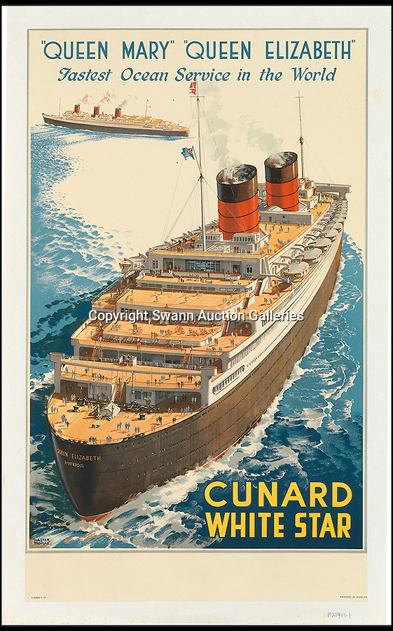 BNPS.co.uk (01202 558833)<br /> Pic: SwannGalleries/BNPS<br /> <br /> ***Please Use Full Byline***<br /> <br /> Cunard White Star Queen Mary/Queen Elizabeth - 1947 - £1500<br /> <br /> Beautiful posters from the halcyon days of travel up for auction.<br /> <br /> Scarce vintage travel posters promoting holidays across the globe in the 1920's and 30's are tipped to sell for over £200,000 .<br /> <br /> The fine collection of 200 works of art that hark back to the halcyon days of train and boat travel have been brought together for sale.<br /> <br /> The posters were used to advertise dream holiday destinations in far-flung places such as the US and Australia and to celebrate the luxurious ways of getting to them.<br /> <br /> Most of the advertising posters date back to the 1930s and are Art Deco in style and they are all from the original print-run.