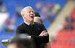 St Johnstone v Livingston….10.08.19      McDiarmid Park     SPFL <br />Livvy boss Gary Holt talks with someone in the crowd<br />Picture by Graeme Hart. <br />Copyright Perthshire Picture Agency<br />Tel: 01738 623350  Mobile: 07990 594431