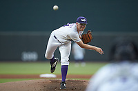Winston-Salem Dash starting pitcher Jake Elliott (34) delivers a pitch to the plate against the Lynchburg Hillcats at BB&T Ballpark on August 1, 2019 in Winston-Salem, North Carolina. The Dash defeated the Hillcats 9-7. (Brian Westerholt/Four Seam Images)