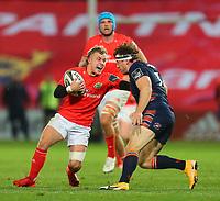 10th October 2020; Thomond Park, Limerick, Munster, Ireland; Guinness Pro 14 Rugby, Munster versus Edinburgh; Craig Casey of Munster is tackled by Hamish Watson of Edinburgh