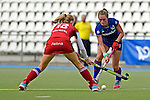 GER - Mannheim, Germany, October 22: During the women hockey match between Mannheimer HC (blue) and Rot-Weiss Koeln (red) on October 22, 2016 at Mannheimer HC in Mannheim, Germany. Final score 2-4 (HT 1-1). (Photo by Dirk Markgraf / www.265-images.com) *** Local caption ***