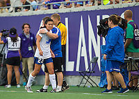 Orlando, FL - Sunday July 10, 2016: Matt Beard, Brooke Elby during a regular season National Women's Soccer League (NWSL) match between the Orlando Pride and the Boston Breakers at Camping World Stadium.