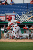 Auburn Doubledays Adalberto Carrillo (8) bats during a NY-Penn League game against the Batavia Muckdogs on June 19, 2019 at Dwyer Stadium in Batavia, New York.  Batavia defeated Auburn 5-4 in eleven innings in the completion of a game originally started on June 15th that was postponed due to inclement weather.  (Mike Janes/Four Seam Images)