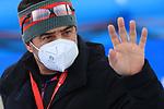 FIS Alpine Ladies Ski World Cup 2021 . Kronplatz, Plan De Corones, Italy on January 26, 2021. Italian Olympic Legend Alberto Tomba waering a protective mask due to Covid-19 Pandemic
