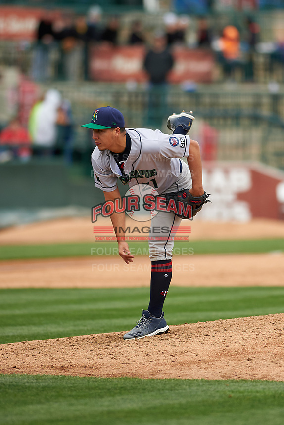 Cedar Rapids Kernels starting pitcher Andrew Cabezas (21) during a Midwest League game against the South Bend Cubs at Four Winds Field on May 8, 2019 in South Bend, Indiana. South Bend defeated Cedar Rapids 2-1. (Zachary Lucy/Four Seam Images)