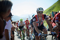 Norwegian champ Edvald Boasson Hagen (Nor/DimensionData) crossing the last mountain climb of the day; the Col de Peyresourde (Cat1/1569m/7.1km at 7.8%) in the 2nd grupetto<br /> <br /> stage 8: Pau - Bagnères-de-Luchon, 184km<br /> 103rd Tour de France 2016
