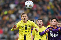 30th May 2021; Auckland, New Zealand;  Ben Waine heads the ball clear.<br /> Wellington Phoenix versus Perth Glory, A-League football at Eden Park.