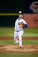 Connecticut Tigers relief pitcher Juan Aguilera (54) delivers a pitch during a game against the Hudson Valley Renegades on August 20, 2018 at Dodd Stadium in Norwich, Connecticut.  Hudson Valley defeated Connecticut 3-1.  (Mike Janes/Four Seam Images)