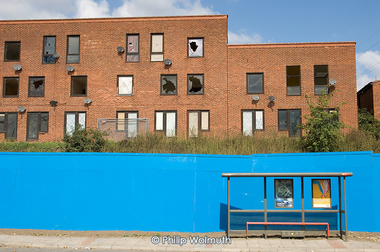 Clays Lane Estate, in Stratford, awaiting demolition prior to construction of the Olympic Village for the London 2012 Olympic Games.