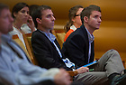 """Sept 15, 2014; Members of the audience listen during the 2014-15 Notre Dame Forum, """"What do Notre Dame Graduates Need to Know,"""" at Leighton Concert Hall in the Debartolo Performing Arts Center. (Photo by Barbara Johnston/University of Notre Dame)"""