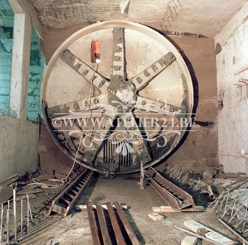 December 1980. Boorschild bij de bouw van de premetro in Antwerpen.