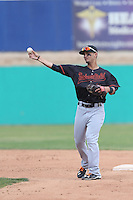 Tim Lopes (5) of the Bakersfield Blaze in the field during a game against the High Desert Mavericks at Mavericks Stadium on May 18, 2015 in Adelanto, California. High Desert defeated Bakersfield, 7-6. (Larry Goren/Four Seam Images)