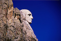 Profile of U.S. President George Washington, sculpture by Gutzon Borglum, Mount Rushmore National Memorial.