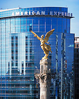 aerial photograph of the El Angel Independence monument at the La Reforma avenue in Mexico City with the American Express building in the background | fotografía aérea del monumento a la Independencia de El Ángel en la avenida La Reforma en la Ciudad de México con el edificio de American Express