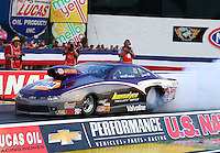 Aug 29, 2014; Clermont, IN, USA; NHRA pro stock driver Vincent Nobile during qualifying for the US Nationals at Lucas Oil Raceway. Mandatory Credit: Mark J. Rebilas-USA TODAY Sports