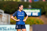 CARY, NC - SEPTEMBER 12: Kaleigh Kurtz #3 of the NC Courage catches her breath during a game between Portland Thorns FC and North Carolina Courage at Sahlen's Stadium at WakeMed Soccer Park on September 12, 2021 in Cary, North Carolina.