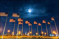 Flags at LIberty Park at night