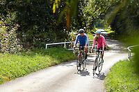 Sam and Zoe riding Carrera Bicycles. nr Binfield, Berkshire .  September    2014 .