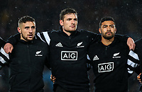 All Blacks, from left, TJ Perenara, George bridges and Ricxhie Mo'unga before the Bledisloe Cup Rugby match between the New Zealand All Blacks and Australia Wallabies at Eden Park in Auckland, New Zealand on Saturday, 17 August 2019. Photo: Simon Watts / lintottphoto.co.nz
