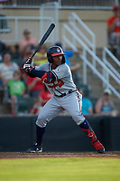 Justin Dean (5) of the Rome Braves at bat against the Kannapolis Intimidators at Kannapolis Intimidators Stadium on July 2, 2019 in Kannapolis, North Carolina.  The Intimidators walked-off the Braves 5-4. (Brian Westerholt/Four Seam Images)