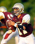Waterbury, CT-07 September 2012-090712CM07- Sacred Heart quarterback, Thomas Carissimi sets back to pass during the first quarter against Crosby during the City Jamboree Friday night at Municipal Stadium in Waterbury.  Sacred Heart won the quarter.     Christopher Massa Republican-American