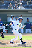 Brandon Trinkwon (16) of the Rancho Cucamonga Quakes bats during a game against the Bakersfield Blaze at LoanMart Field on June 1, 2015 in Rancho Cucamonga, California. Rancho Cucamonga defeated Bakersfield, 5-2. (Larry Goren/Four Seam Images)