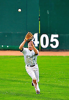 25 July 2010: Vermont Lake Monsters outfielder Chad Mozingo pulls in a center field fly against the Tri-City ValleyCats at Centennial Field in Burlington, Vermont. The ValleyCats came from behind to defeat the Lake Monsters 10-8 in NY Penn League action. Mandatory Credit: Ed Wolfstein Photo