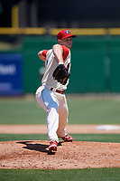 Clearwater Threshers relief pitcher Aaron Brown (25) delivers a pitch during a game against the Jupiter Hammerheads on April 11, 2018 at Spectrum Field in Clearwater, Florida.  Jupiter defeated Clearwater 6-4.  (Mike Janes/Four Seam Images)