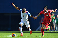 San Diego, CA - Sunday January 29, 2017: Darlington Nagbe, Stefan Panic during an international friendly between the men's national teams of the United States (USA) and Serbia (SRB) at Qualcomm Stadium.