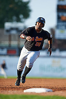 West Virginia Black Bears outfielder Alexis Bastardo (38) running the bases during a game against the Batavia Muckdogs on August 30, 2015 at Dwyer Stadium in Batavia, New York.  Batavia defeated West Virginia 8-5.  (Mike Janes/Four Seam Images)