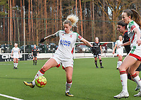 Tine Schryvers (23) of OHL pictured in action during a female soccer game between Oud Heverlee Leuven and SV Zulte-Waregem on the 16 th matchday of the 2020 - 2021 season of Belgian Womens Super League , sunday 14 th of March 2021  in Heverlee , Belgium . PHOTO SPORTPIX.BE | SPP | DAVID CATRY