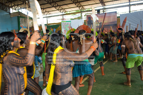 """Altamira, Brazil. """"Xingu Vivo Para Sempre"""" protest meeting about the proposed Belo Monte hydroeletric dam and other dams on the Xingu river and its tributaries. Kayapo women and men protesting."""
