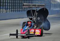 Feb. 10, 2012; Pomona, CA, USA; NHRA top fuel dragster driver Doug Kalitta during qualifying at the Winternationals at Auto Club Raceway at Pomona. Mandatory Credit: Mark J. Rebilas-