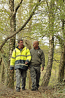 DS Smith Packaging, Crumlin, Newport, which has won a Green Space Business Award.<br /> Pictured walking through the woodland path during their lunch break is Eric Morgan, Machine Operator, left, and  Steve Franklin, Machine Operator, right.
